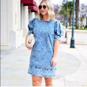 Puff Sleeve Denim Dress! Size 1X NWT